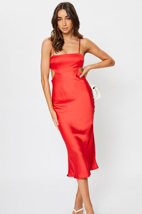 Satin Cut Out Midi Dress
