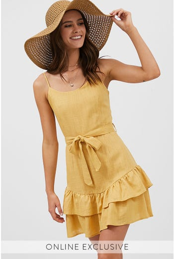 SCOOP NECK DOUBLE FRILL DRESS