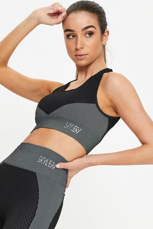 Seamless Contrast Panel Activewear Sports Bra