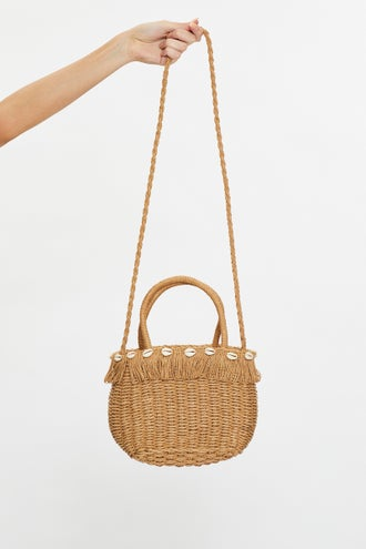 Shell Detail Basket Handbag