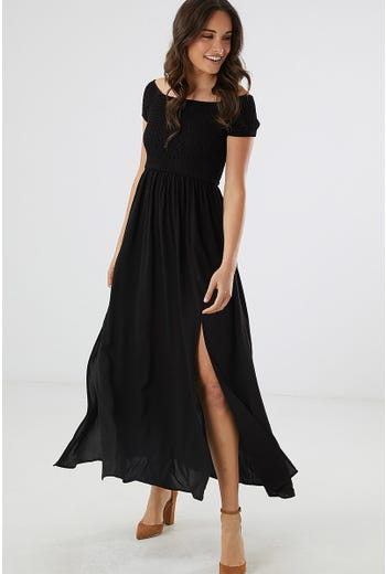 SHIRRED OFF SHOULDER MAXI