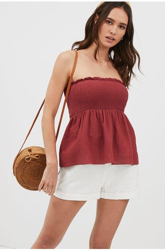 SHIRRED PEPLUM BANDEAU TOP