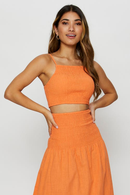 Shirred Square Neck Crop Top