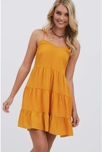 SHIRRED SWING DRESS