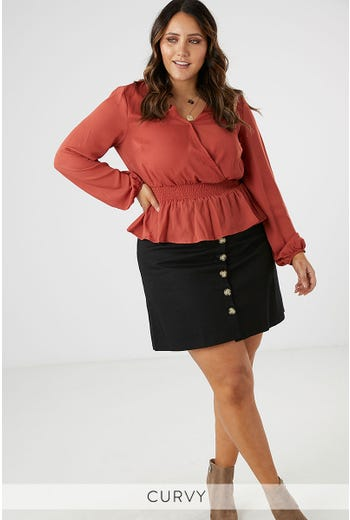 SHIRRED WAIST BLOUSE