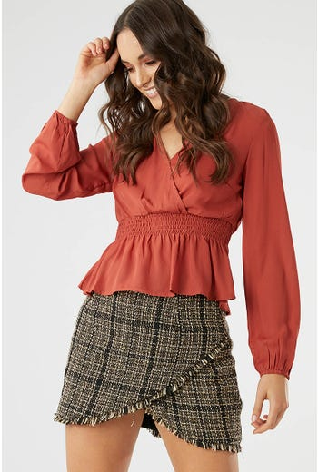 SHIRRED WAIST WRAP FRONT BLOUSE