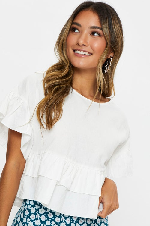 Short Sleeve Linen Look  Ruffle Top