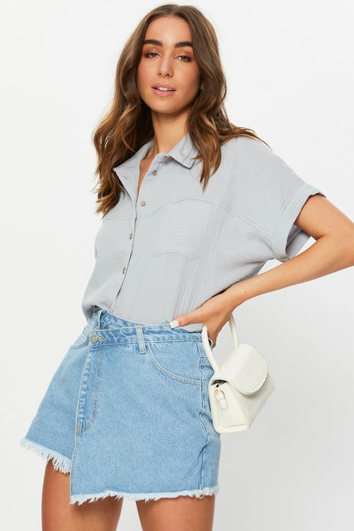 Short Sleeve Linen Look Shirt Top