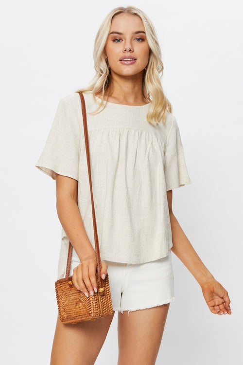 Short Sleeve Linen Shell Top