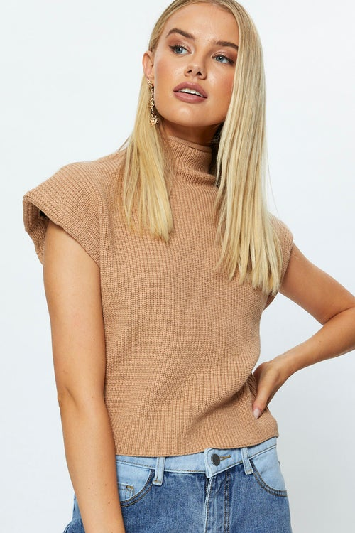 Shoulder Pad Sleeveless Knit Top