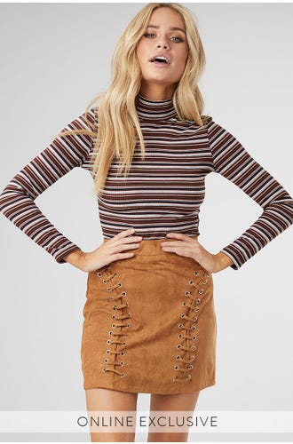 CURVED LACE UP DETAIL SUEDE SKIRT