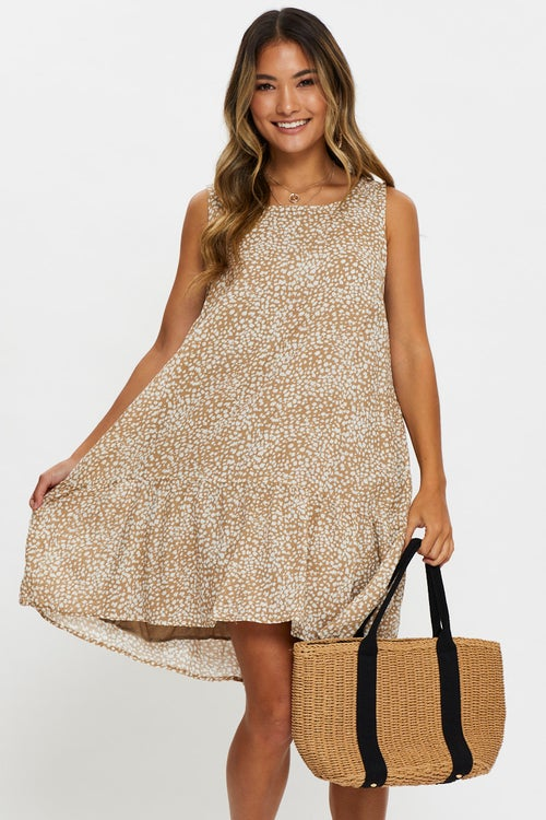 Sleeveless Animal Print Tiered Swing Dress