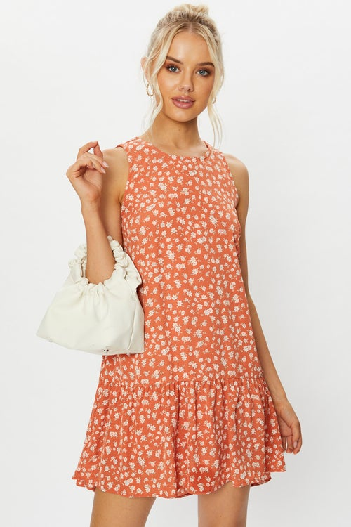 Sleeveless Floral Print Tiered Swing Dress