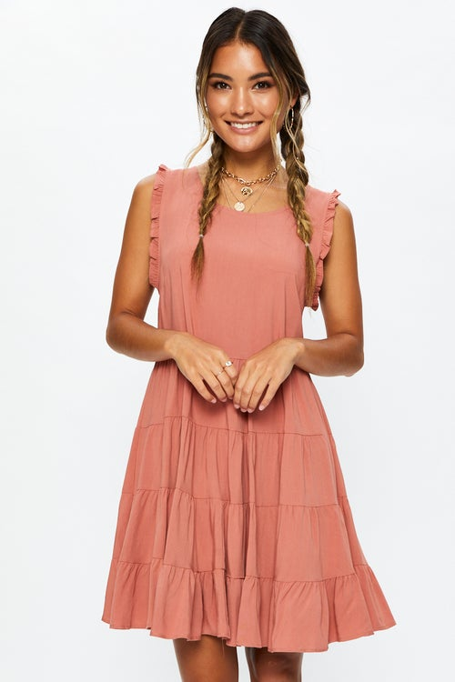 Sleeveless Frill Smock Mini Dress