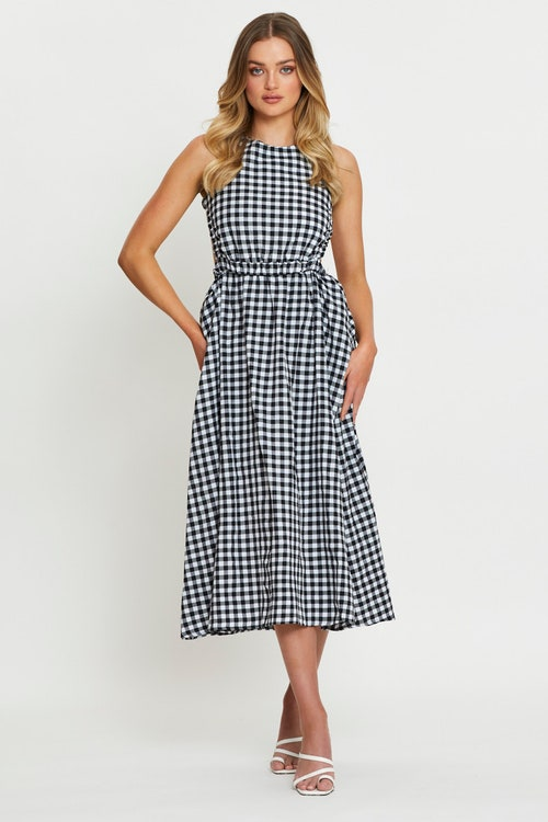 Sleeveless Gingham Check Cut Out Maxi Dress