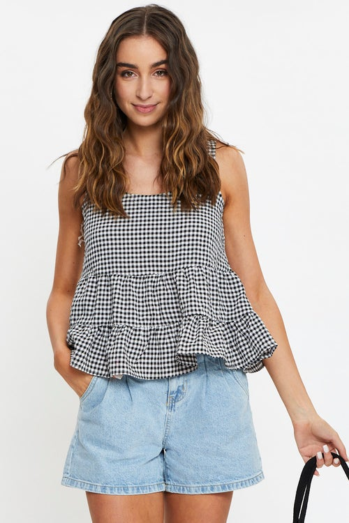 Sleeveless Gingham Check Tiered Top