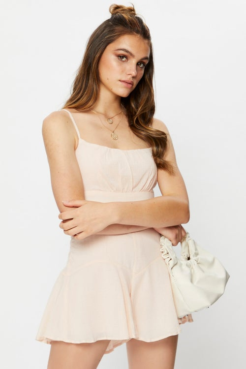 Sleeveless Textured Cotton  Ruched Bust Playsuit