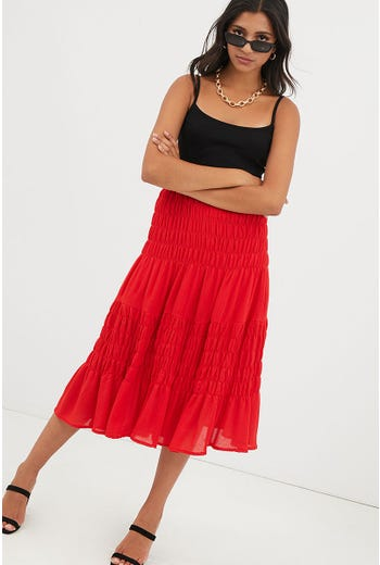 GATHERED PANEL MIDI SKIRT