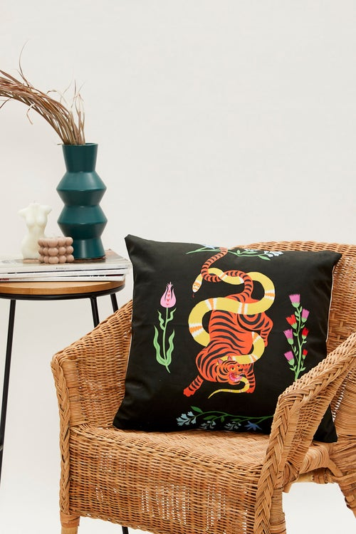 Snake Flower and Tiger Cushion Cover