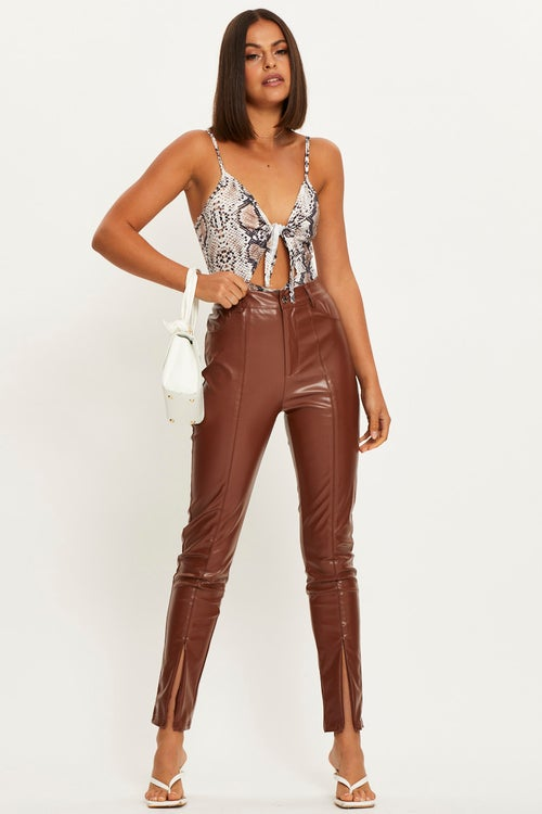 Snake Print Cut Out Detail With Tie Front Bodysuit