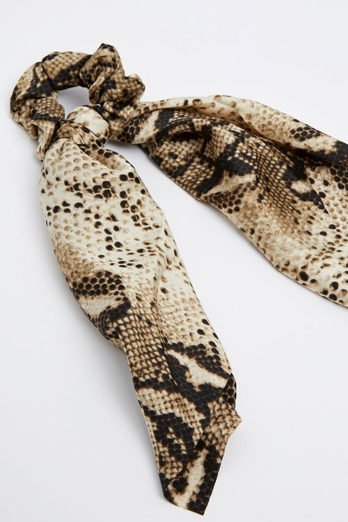 Snake Print Satin Scrunchie With Tails