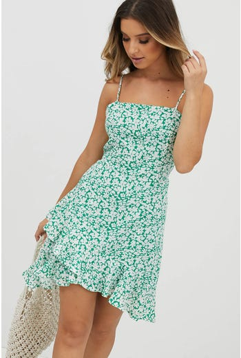SORBET FRILL HEM MINI DRESS