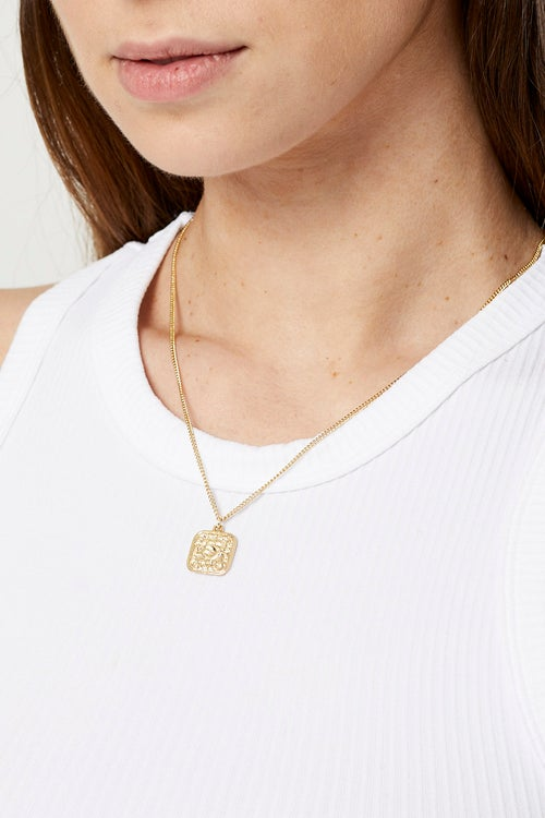 Square Coin Charm Necklace