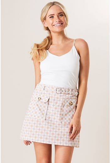 CHECK POCKET DETAIL SKIRT