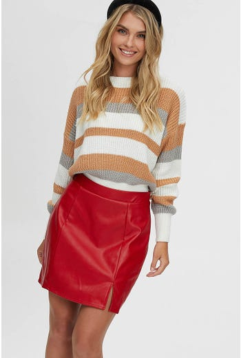 FRONT SPLIT FAUX LEATHER MINI SKIRT