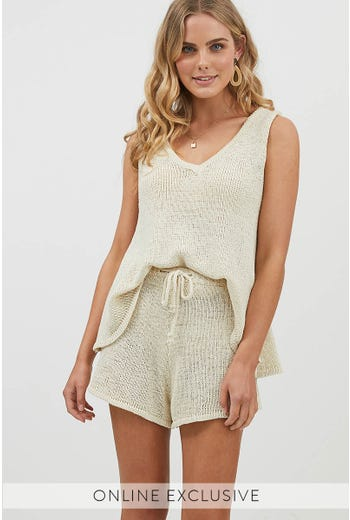 STONE KNIT TOP WITH MATCHING SHORT SET