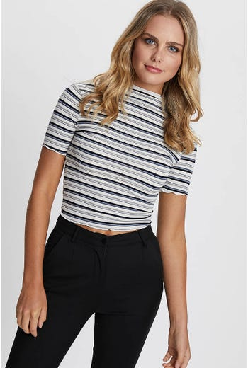 STRIPE BABYLOCK FUNNEL NECK TEE