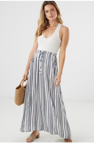 STRIPE CASUAL SIDE TAB MAXI SKIRT