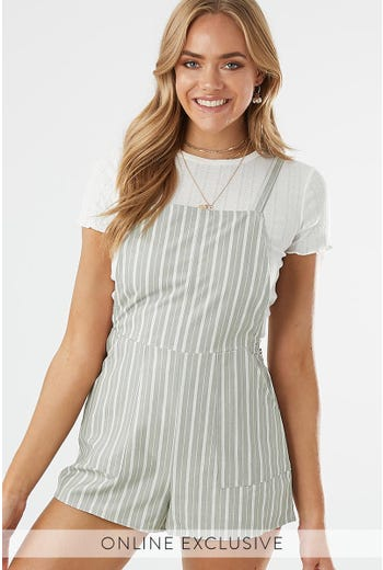 STRIPE DUNGAREE PLAYSUIT