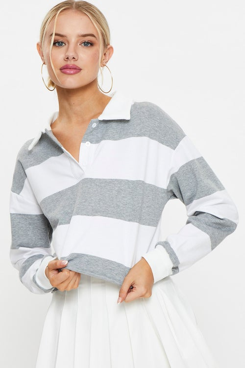 Stripe Polo Rugby Sweater