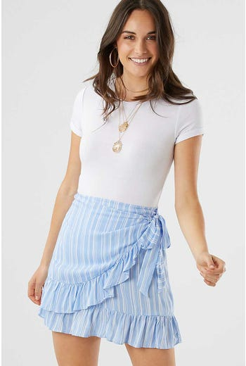 STRIPE PRINT WRAP SKIRT