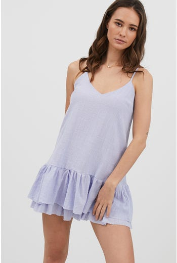 TAKE ME WITH YOU FRILL HEM MINI DRESS