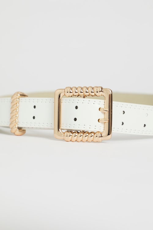 Textured Square Buckle Waist And Hip Belt