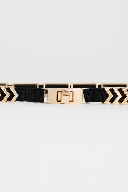 Thin Chevron Metal Elastic Belt