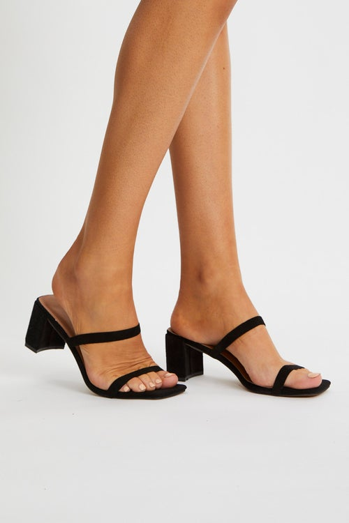 Thin Double Strap Low Block Mules