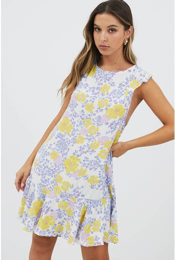 TIE BACK FLORAL MINI DRESS