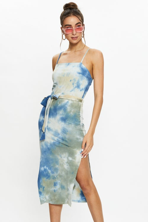 Tie Dye Ribbed Midi Dress