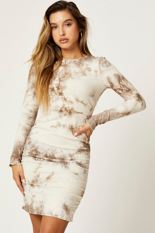 Tie Dye Ruched Ribbed Bodycon Mini Dress