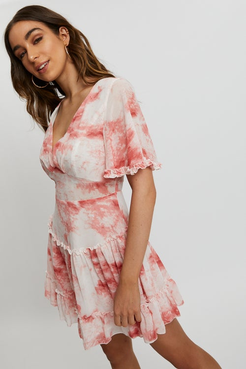 Tie Dye Ruffle Skater Dress
