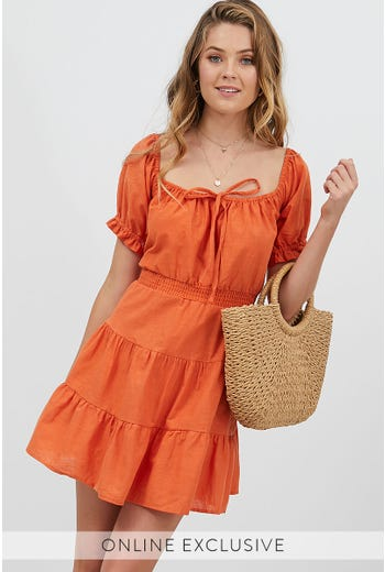 TIE FRONT PUFF SLEEVE DRESS