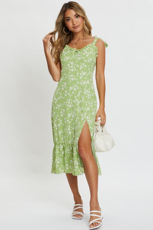 Tie Shoulder Floral Midi Dress