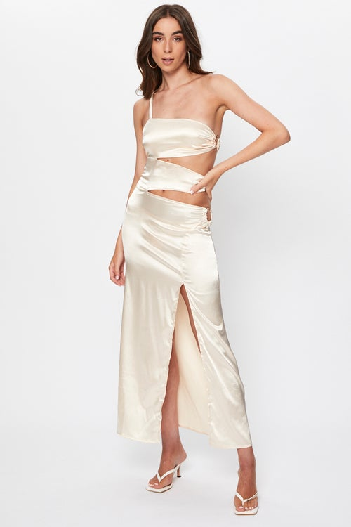 Tie Side Cut Out Maxi Dress