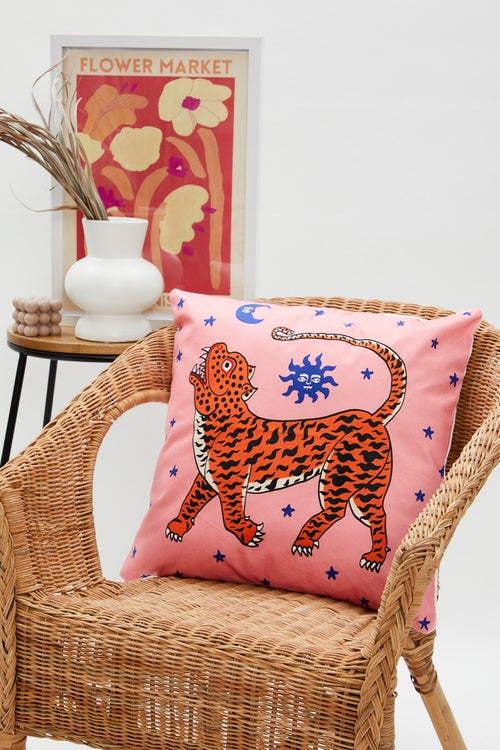 Tiger Moon And Stars Cushion Cover