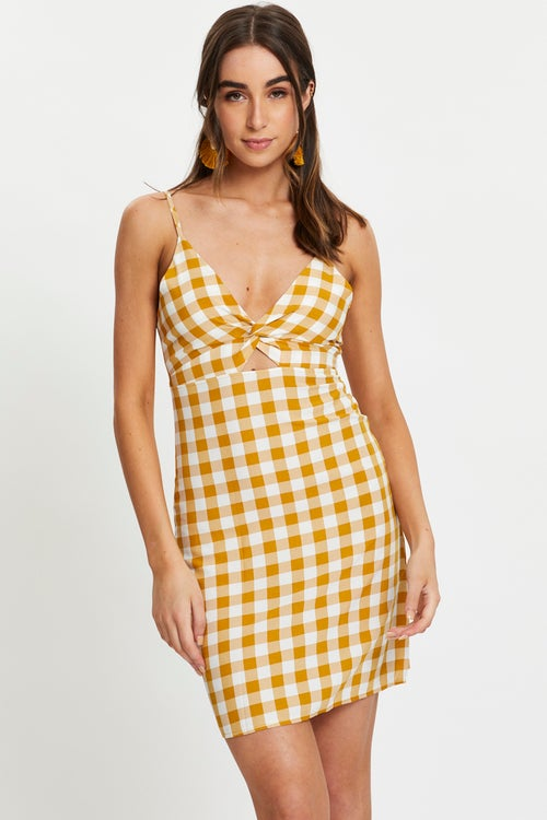 Twist Front Gingham Check A-Line Dress