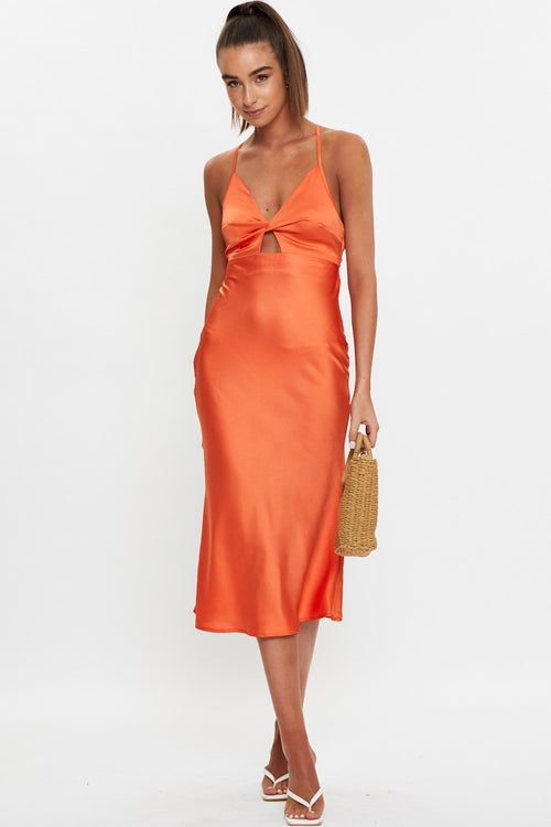 Twist Front Slip Dress