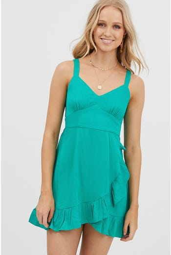 V NECK FRILL MINI DRESS